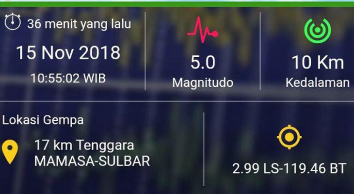 BREAKING NEWS: Gempa 5.0 Magnitudo Kembali Guncang Mamasa