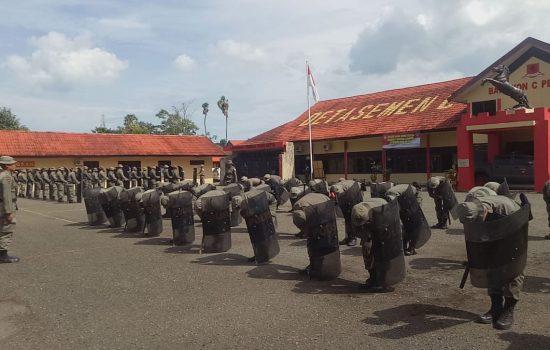 Sambut pemilu 2019 Yon C Pelopor Gelar Latihan Anti Huru Hara