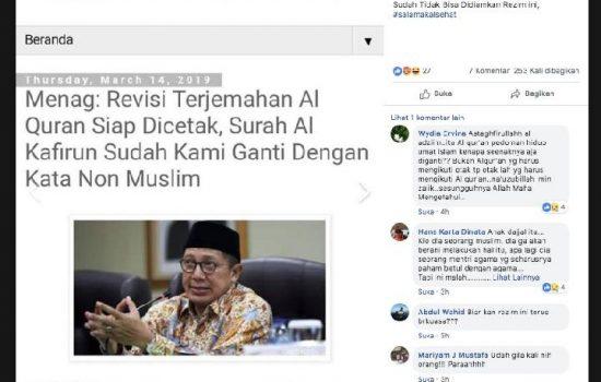 "Terjemahan Surah Al-Kafirun Diganti ""Non Muslim"", HOAX!"