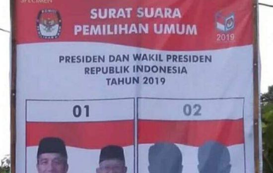 Bantahan KPU Gowa Terkait Baliho Spesimen Surat Suara yang Hanya Memuat Foto Paslon Jokowi Amin