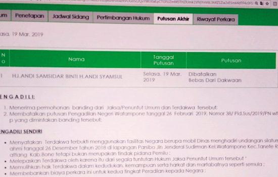 Putusan MA Soal Vonis Wakil Ketua DPRD Bone Beredar di Grup Whatsapp