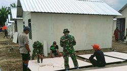 Demi Pengungsi, TNI AD Percepat Pembangunan Huntara Luwu Utara