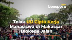 VIDEO: Aksi Tolak RUU Cipta Kerja, Pendemo di Makassar Tutup Jalan